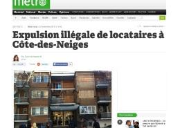 Métro - Expulsion illégale de locataires à Côte-des-Neiges