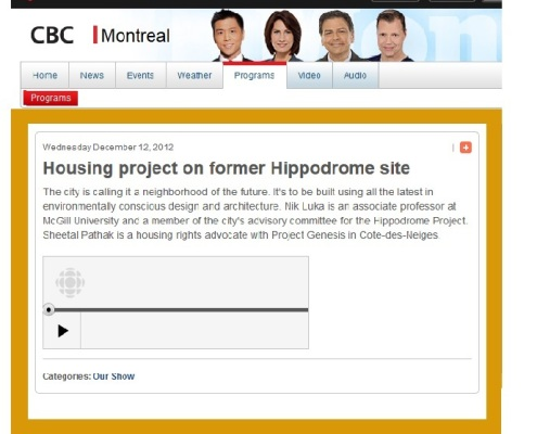 CBC radio - Housing project on former Hippodrome site
