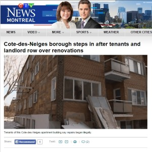 CTV News - CDN borough steps in after tenants and landlord row over renovations