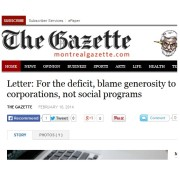 The Gazette - Letter: For the deficit, blame generosity to corporations, not social programs