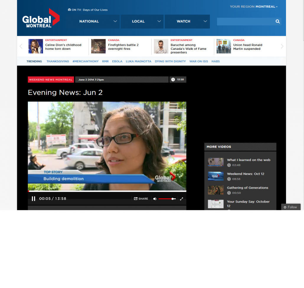 Global news - Building demolition