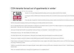 CJAD News - CDN tenants forced out of apartments in winter