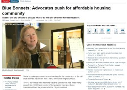CBC news - Blue Bonnets: Advocates push for affordable housing community