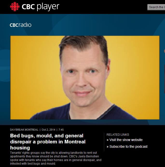 CBC Radio Daybreak - Bed bugs, mould and disrepair a problem in Montreal housing