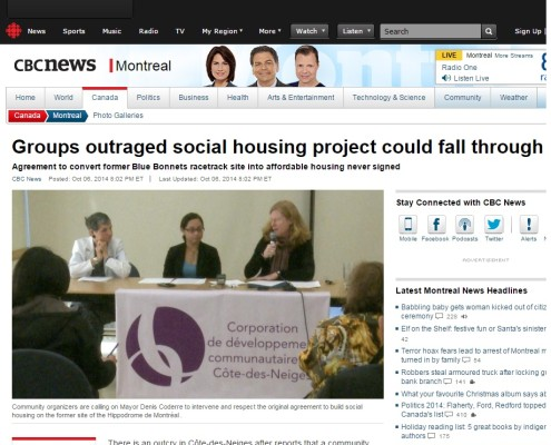 CBC News - Groups outraged social housing project could fall through