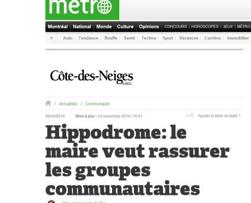 Métro - Hippodrome: le maire veut rassurer les groupes communautaires