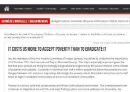 Les Actualités - It costs us more to accept poverty than to eradicate it