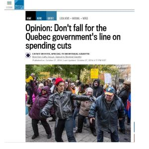 Montreal Gazette - Opinion: Don't fall for the QC government's line on spending cuts