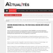 Les Actualités - Housing organizations call for 2500 social housing units on Blue Bonnets
