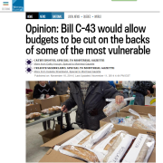 Montreal Gazette - Opinion: Bill C-43 would allow budgets to be cut on the backs of some of the most vulnerable