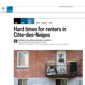 Montreal Gazette - Hard times for tenants in CDN