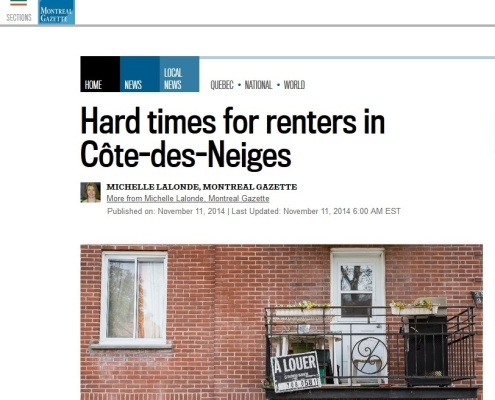 Montreal Gazette - Hard times for tenants in CDN