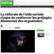 Metro - La réforme de l'aide sociale risque de renforcer les préjugés, dénoncent des organismes