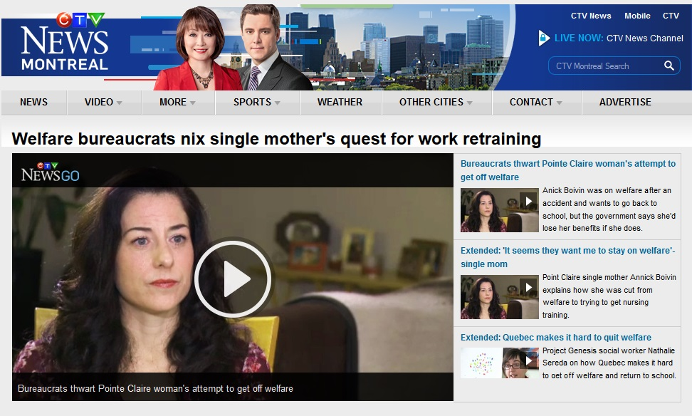 CTV News - Welfare bureaucrats nix single mother's quest for work retraining