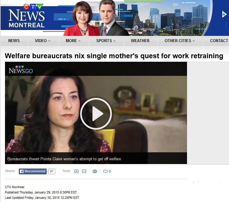 CTV News - welfare bureaucrats nix single mothers quest for work retraining