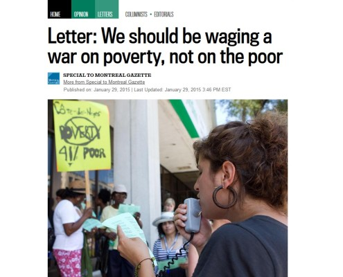 Montreal Gazette - Letter: We should be waging a war on poverty, not on the poor