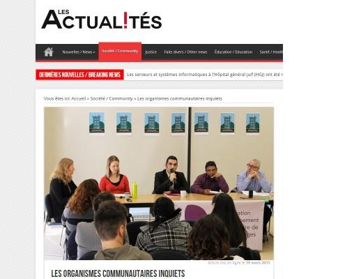 Les Actualites - Les organismes communautaires inquiets